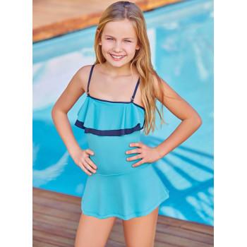 Детский купальник тонкая лямка голубой