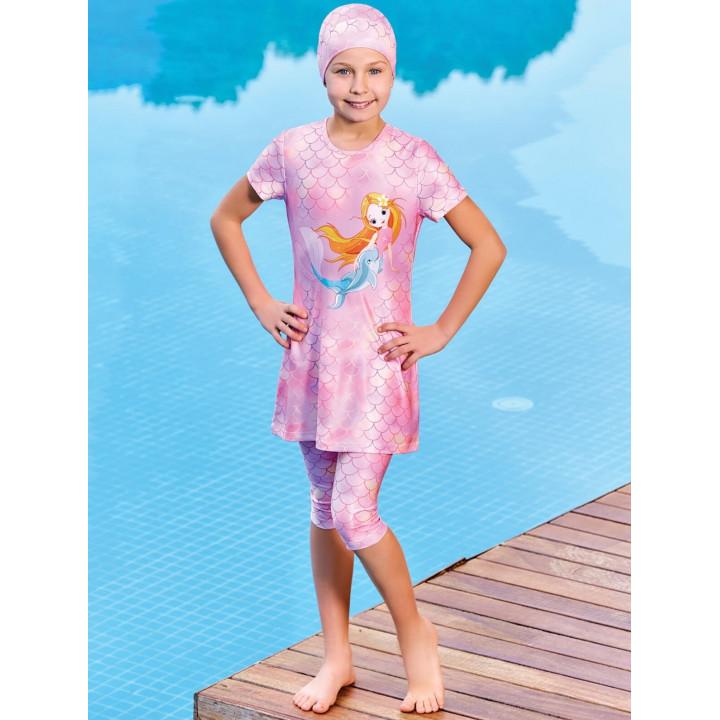 Детское буркини ДБ русалка дельфин розовый