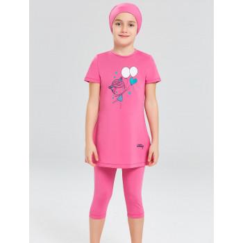 Детское буркини розовый воздушные шарики