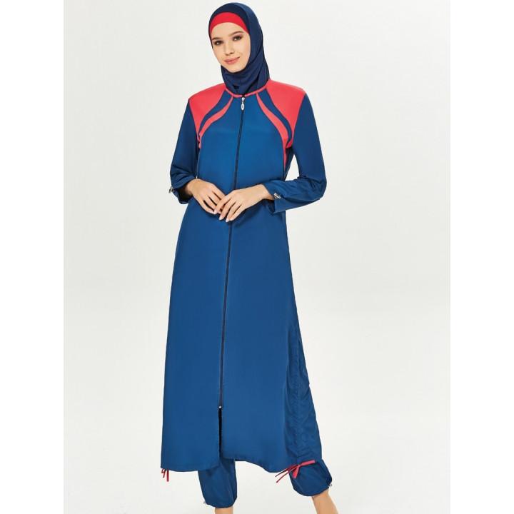 Буркини Закрытый синий+красный