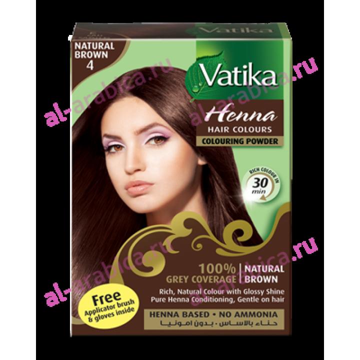 Хна для волос Vatika Естественный коричневый цвет Natural Brown henna, 6*10 гр