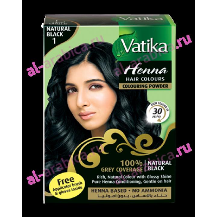 Хна для волос Vatika Натуральный черный цвет Natural Black henna, 6*10 гр