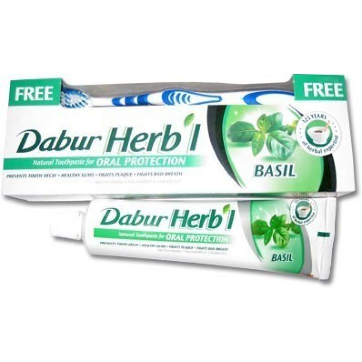 Зубная паста DABUR Herbal С базиликом 150 г + зубная щетка в подарок